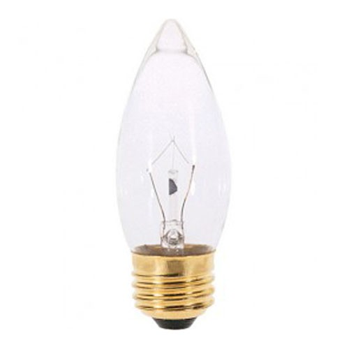 Satco S3384 - Incandescent - 40W - 220V - B11 - Medium Base - Clear - CC-2F Filament - 330 Lumens - Dimmable - 25 Packs