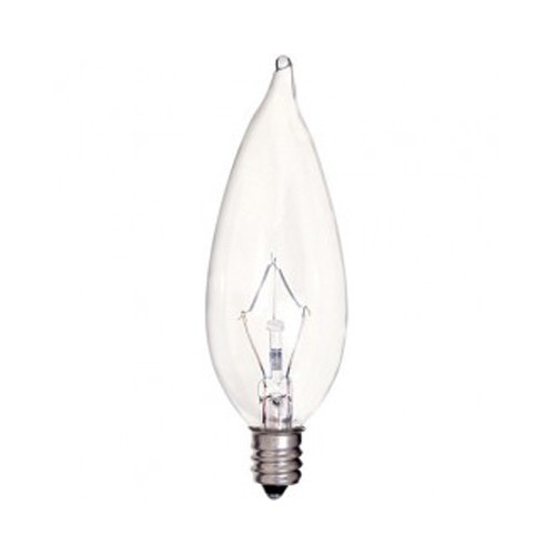 Satco S4466 - Incandescent - CA9 1/2 - 40W - 120V - Candelabra Base - Clear - 380LM - CC-2V Filament - Dimmable - 25 Packs