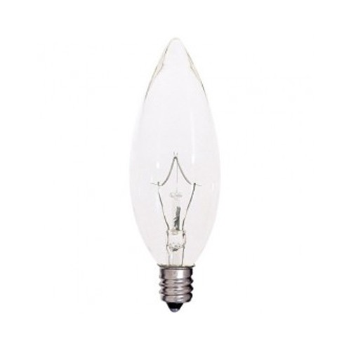 Satco S4996 - Incandescent - BA9 1/2 - 40W - 120V - Candelabra Base - Clear - CC-2V Filament - 380LM - Dimmable - 25 Packs