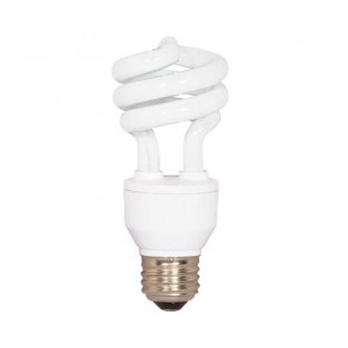 Satco S7413 - 230V - 18W - T2 Mini Spiral Compact Fluorescent - Medium Base - 1200 Lumens - 2700K Warm White - 82 CRI - 12 Packs