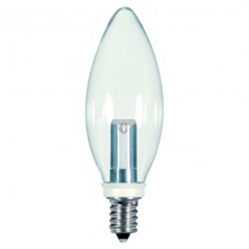Satco S9152 - 1 watt - LED - BA9.5 - 2700K Warm White - 120 volts - 25 Lumens - Candelabra base (E12) - Clear finish - 360 Deg. Beam Spread - Non-Dimmable - 12 Packs