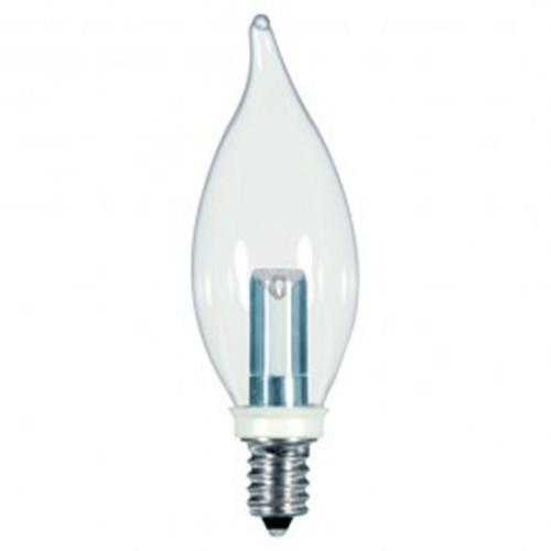 Satco S9153 - 1 watt - LED - CA8 - 2700K Warm White - 120 volts - 25 Lumens - Candelabra base (E12) - Clear finish - 360 Deg. Beam Spread - Non-Dimmable - 12 Packs