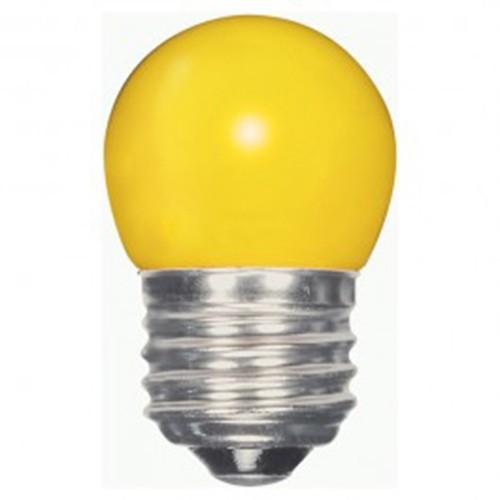 Satco S9166 - 1.2 watt - LED - S11 - 120 volts - Medium base (E26) - Ceramic Yellow finish - 360 Deg. Beam Spread - Non-Dimmable - 12 Packs
