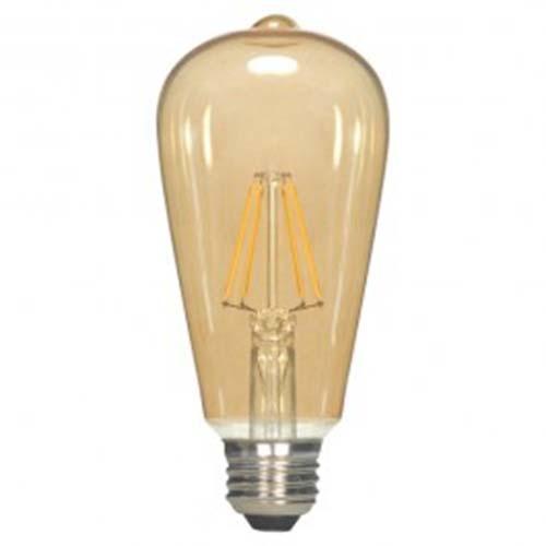 Satco S9270 - 2.5 Watt - ST19 LED - Transparent Amber - 2300K - Medium base - 360 Deg. Beam Spread - 220 lumens - 120 V - 6 Packs