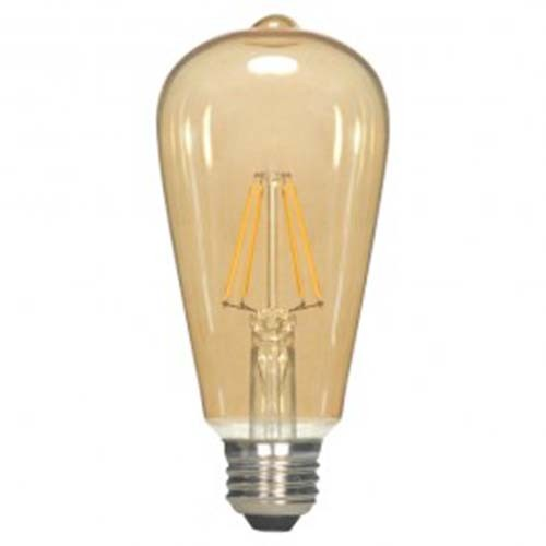 Satco S9271 - 4.5 Watt - ST19 LED - Transparent Amber - 2300K - Medium base - 360 Deg. Beam Spread - 400 lumens - 120 V - 6 Packs