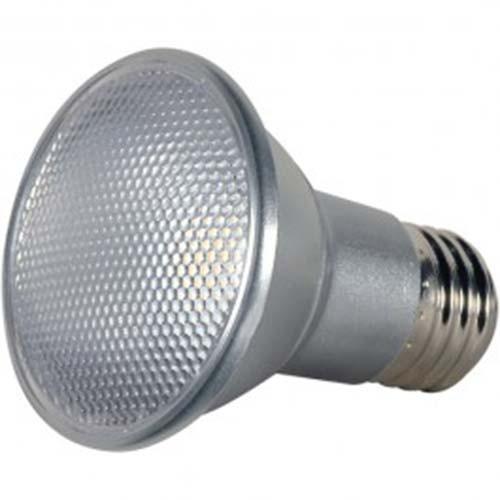 Satco S9404 - 7 Watt - LED PAR20 - Silver - 5000K - Medium Base - 25 Deg. Beam Spread - 120V - Dimmable - 6 Packs