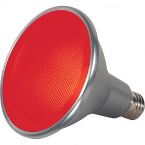 Satco S9480 - 15 Watt - PAR38 LED - Silver - Red - Medium base - 40 Deg. Beam Spread - 120V - Dimmable - 6 Packs