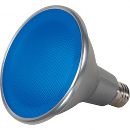 Satco S9482 - 15 Watt - PAR38 LED - Silver - Blue - Medium base - 40 Deg. Beam Spread - 120V - Dimmable - 6 Packs
