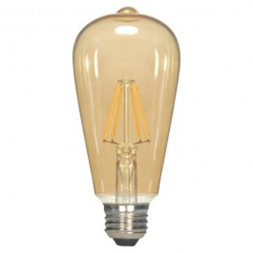 Satco S9577 - 2.5 Watt - ST19 LED - Transparent Amber - 2300K - Medium base - 360 Deg. Beam Spread - 220 lumens - 120V - 6 Packs
