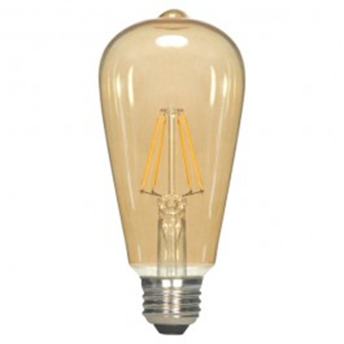 Satco S9579 - 6.5 Watt - ST19 LED - Transparent Amber - 2300K - Medium base - 360 Deg. Beam Spread - 650 lumens - 120V - 6 Packs