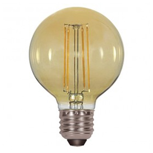 Satco S9584 - 4.5 Watt - G25 LED - Transparent Amber - 2200K - Medium base - 360 Deg. Beam Spread - 380 lumens - 120V - 6 Packs