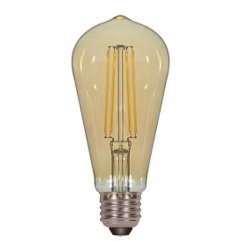 Satco S9585 - 4.5 Watt - ST19 LED - Transparent Amber - 2200K - Medium base - 360 Deg. Beam Spread - 380 lumens - 120V - 6 Packs
