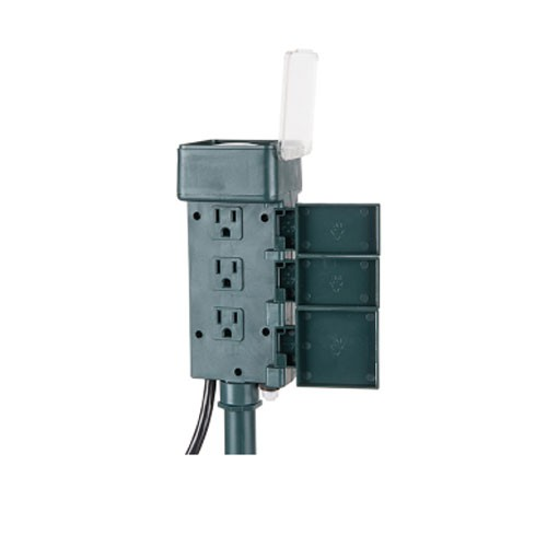 Tork SA215 - Outdoor Mechanical Plug-In Holiday Decor Stake Timer - 6 Grounded Outlets