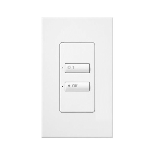 Lutron SS-2BI-GWH-E00 - SeeTouch - 2-Button Wallstation - Works with Softswitch128 TM systems - Glossy White