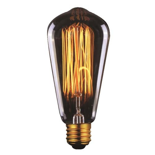 60 Watt - Vintage Antique Bulb - 1910 Edison Style - 5.6 Inch Length - Medium E26 Base - Squirrel Cage Filament - Multiple Supports - Light Golden Glass
