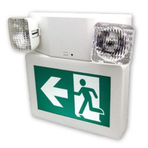 Stanpro PRMP-2 - LED Running Man Sign Combo - Commercial Thermoplastic - 120/347 Volt - Self Powered for 30 Minutes - Universal Face Plate - White Color - Universal Mounting