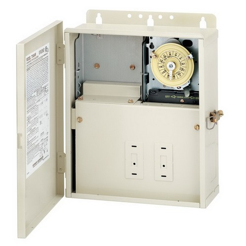 Intermatic T10004R - Pool / Spa Mechanical Control Center - One T104M - All-Weather Steel Case - Light Beige Finish - DPST - 240 Volt