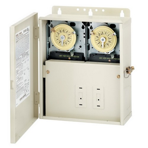 Intermatic T10404R - Pool / Spa Mechanical Control Center - Two T104M - All-Weather Steel Case - Light Beige Finish - DPST-DPST - 240-240 Volt