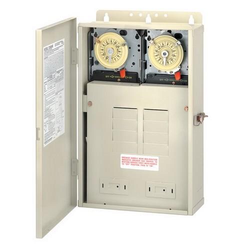 Intermatic T30404R - Pool-Spa Mechanical Control Panel - (2) T104M Mechanisms- Steel Case - Beige Finish - DPST-DPST - 100 Amps - 240-240 Volt