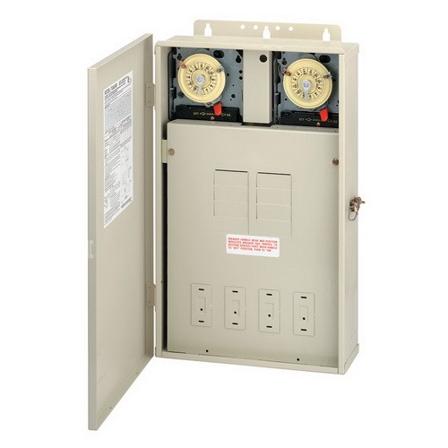 Intermatic T40404R - Pool/Spa Mechanical Control Panel - (2) T104M Mechanisms - Steel Case - Beige Finish - DPST - 125 Amps - 240/240 Volt