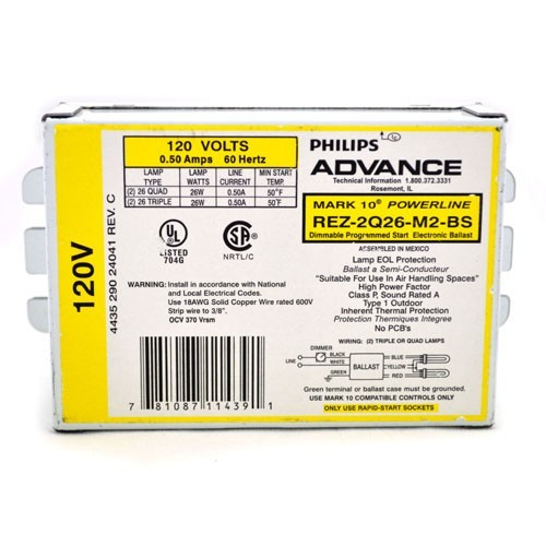Philips Advance ICF2S18H1LDK - SmartMate Electronic Programmed Start 4-Pin CFL Ballasts - For (1/2) CFL Lamps - 120-277V