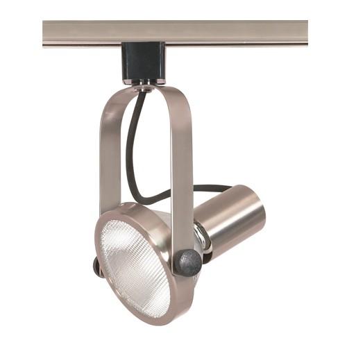 Satco TH301 - 1-Light Gimbal Ring Track Lighting Head - 75 Watts - PAR30 Short Neck Bulb - Incandescent - Medium Base - Brushed Nickel Finish