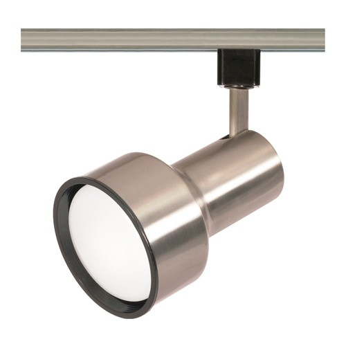 Satco TH304 - 1-Light R30 Step Cylinder Track Lighting Head - 75 Watts - R30/PAR30 Long Neck Bulb - Incandescent - Medium Base - Brushed Nickel Finish