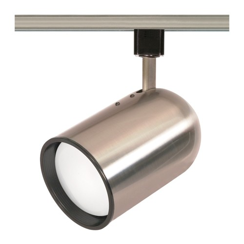 Satco TH306 - 1-Light R30 Bullet Cylinder Track Lighting Head - 75 Watts - R30/PAR30 Long Neck Bulb - Incandescent - Medium Base - Brushed Nickel Finish