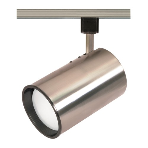 Satco TH308 - 1-Light R30 Straight Cylinder Track Lighting Head - 75 Watts - R30/PAR30 Long Neck Bulb - Incandescent - Medium Base - Brushed Nickel Finish