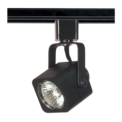 Satco TH313 - 1-Light Square Track Lighting Head - 50 Watts - 120 Volts - MR16 Bulb - Halogen - GU10 Base - Black Finish
