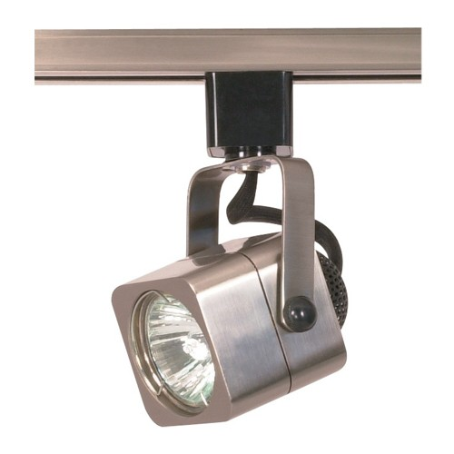 Satco TH314 - 1-Light Square Track Lighting Head - 50 Watts - 120 Volts - MR16 Bulb - Halogen - GU10 Base - Brushed Nickel Finish