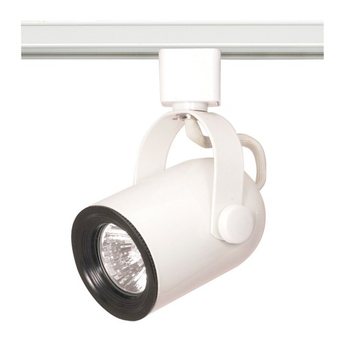 Satco TH315 - 1-Light Round Back Track Lighting Head - 50 Watts - 120 Volts - MR16 Bulb - Halogen - GU10 Base - White Finish