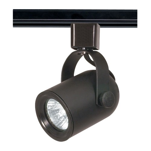 Satco TH316 - 1-Light Round Back Track Lighting Head - 50 Watts - 120 Volts - MR16 Bulb - Halogen - GU10 Base - Black Finish