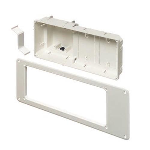 Arlington TVB613GC -  Recessed TV Box Trim Plate - White - 4-Gang - Paintable Plastic