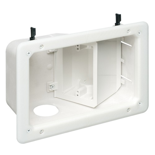 Arlington TVB712GC - Recessed TV Box with Angled Openings - White - 2-Gang - Plastic