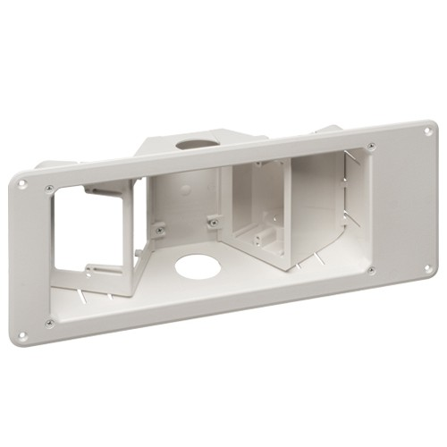 Arlington TVB713GC - Recessed TV Box with Angled Openings - White - 3-Gang - Plastic