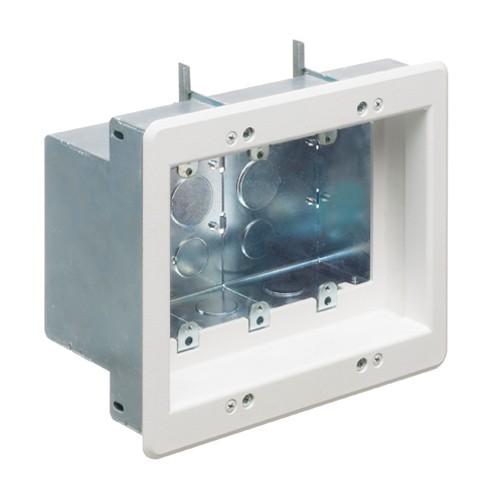 Arlington TVBS507 - 3-Gang Recessed Steel TV Box - White - Steel - 3-Gang