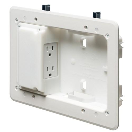 "Arlington TVL508GC - Low Profile TV Box for Shallow Wall Depths - 5"" x 8"" Box - White - Plastic"