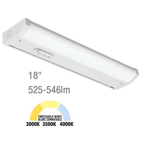 """Juno UCES 18"""" Economy LED Switchable White Undercabinet Light - 8.2W 3000K/35000K/4000K 90CRI - 120V Hard Wire - Steel Body White Finish"""