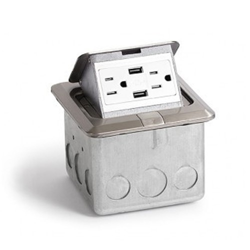 Rack-A-Tiers VPU.SS.2USB.20A - Countertop Electrical w/2 USB Ports - Stainless Steel (20 amp)