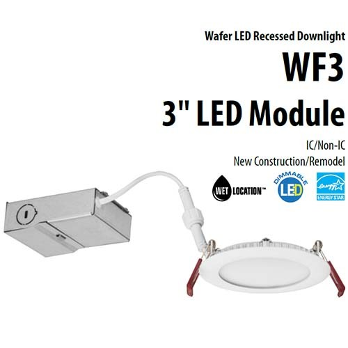 "Lithonia Lighting WF3 LED 30K MW M6 - 3"" Wafer-thin LED Downlight - 8W - 120V - 3000K Warm White - 80 CRI - 550 Lumens - Matte White"
