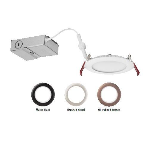 """Lithonia Lighting WF4 LED 27K MW M6 - 4"""" Wafer-thin LED Downlight - 10.6W - 120V - 2700K Warm White - 80 CRI - 660 Lumens - Matte white"""