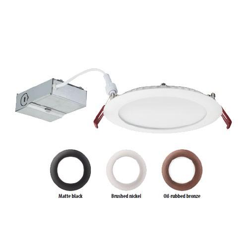 """Lithonia Lighting WF6 LED 40K MW M6 - 6"""" Wafer-thin LED Downlight - 13.6 W - 120V - 4000K Cool White - 80 CRI - 1200 Lumens - Matte White"""
