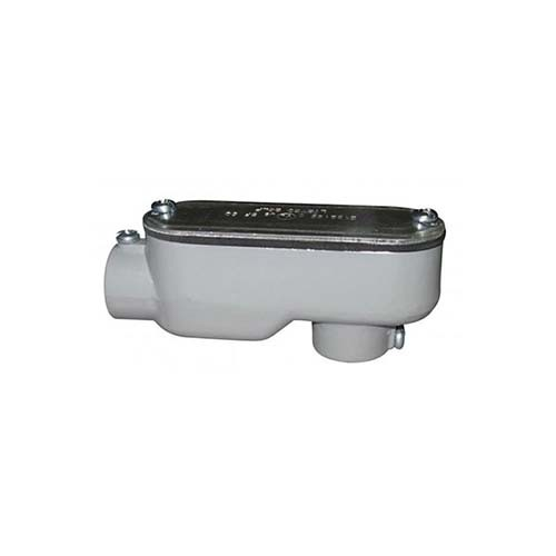 "RAB Design XLSLB-100-CG COND. BODY - XLS-LB Combination Conduit Body EMT (Set Screw) Rigid (Threaded) - 1"" Conduit Entry - Grey Finish"