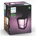 Philips Hue 1744030V7 - White & Color Ambiance Econic Wall Down Lantern - Outdoor Fixture - Black Finish - 100-240Vac