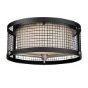 Satco 60-6452 - 3 Light Flush Mount Light Fixture - 100-300 Watts - 120 Volts - A19 Bulb - Medium Base - Black With Brushed Nickel Accents Finish