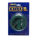 Satco 93-169 - 12 Foot Coiled Extension Cord - 13A - 125V - 1625W - Supplied With Safety Cover - Green Finish