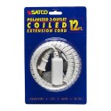 Satco 93-170 - 12 Foot Coiled Extension Cord - 13A - 125V - 1625W - Supplied With Safety Cover - White Finish