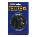 Satco 93-173 - 12 Foot Coiled Extension Cord - 13A - 125V - 1625W - Supplied With Safety Cover - Black Finish
