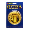 Satco 93-175 - 12 Foot Coiled Extension Cord - 13A - 125V - 1625W - Supplied With Safety Cover - Yellow Finish